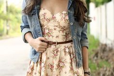 Blue jean jacket with floral dress