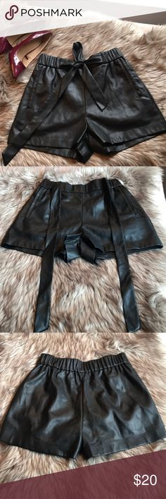 Zara Trafaluc Black Faux Leather shorts size small Modern and chic size small Zara Faux Leather shorts,preowned in very good condition.100% polyurethane Zara Shorts