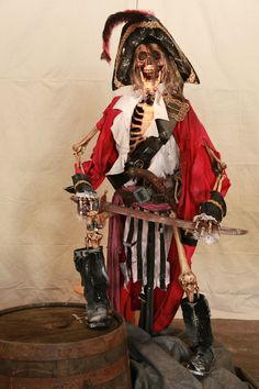 SKELETON PIRATE LIFE SIZE Halloween Prop ONE OF A KIND | eBay