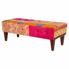 "Add an exotic touch to your home library or living room seating group with this tufted bench, featuring wood framing and patchwork upholstery.   Product: BenchConstruction Material: Wood frame and cotton fabricColor: MultiFeatures: One-of-a-kindDimensions: 18"" H x 49"" W x 21"" DCleaning and Care: Spot clean"