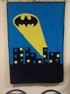 Batman quilt, machine pieced and machine quilted!