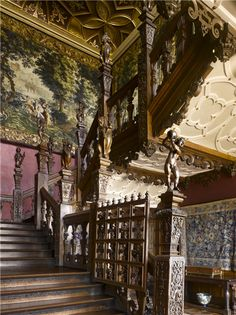 Instantly recognizable as the Great Staircase at Hatfield House, Herts., seat of the Cecil Marquesses of Salisbury. The gate was to keep dogs from going upstairs.