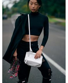 Love Margaret in all black and these shoes give the outfit extra cred — it's all about the small cross-body bag, and this white pops against...