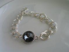Swarovski components rivoli grey crystal silver by LeeliaDesigns, $20.00