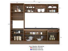 Cozinha Compacta com Balcão Multimóveis Linea - Nicho para Forno Micro-ondas 8 Portas 1 Gaveta - Cozinhas Compactas - Magazine Luiza