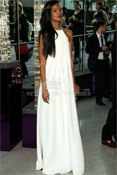 Liya Kebede White And Black Halter Prom Dress
