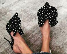 polka dots bow heel sandal - heels styles