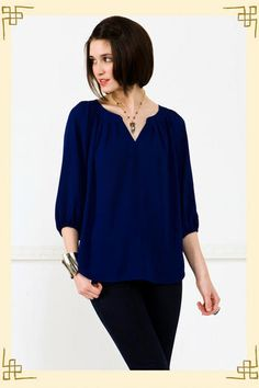 Love this deep blue top!  Looks great with skinny jeans or white shorts!  Have this, love it!  Would wear it every day:)
