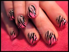 BLACK AND PINK NAILS - Google Search