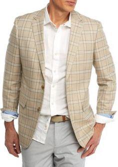 Crown  Ivy  Tan Plaid Classic-Fit Tan Plaid Sport Coat