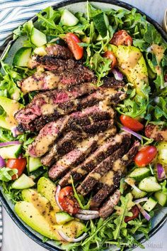 SAVE FOR LATER! This is the steak salad of your dreams! It's loaded with juicy steak, your favorite veggies, and a creamy balsamic vinaigrette. It makes a delicious healthy lunch or dinner salad! recipes Best Steak Salad with Creamy Balsamic Vinaigrette Healthy Salad Recipes, Paleo Recipes, Dinner Recipes, Paleo Food, Paleo Diet, Balsamic Salad Recipes, Arugula Recipes, Salmon Salad Recipes, Superfood Recipes