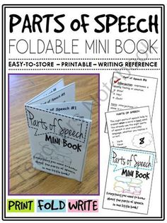 Parts of Speech Mini-Book (foldable, printable, fun-filled resource!) from The Classroom Sparrow on TeachersNotebook.com - (7 pages) - This mini-book is a great addition to any English Language Arts classroom, and suitable for a variety of levels. Students no longer have an excuse for misplacing their notes.