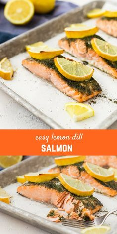Lemon Salmon with Dill is going to be a weeknight lifesaver. It's ready in less than 30 minutes, it's healthy, flavorful and so ridiculously easy to make. You're going to end up making it once a week! Grilled Salmon Recipes, Fish Recipes, Seafood Recipes, Cooking Recipes, Seafood Meals, Clean Recipes, Recipies, Haddock Recipes, Lemon Salmon