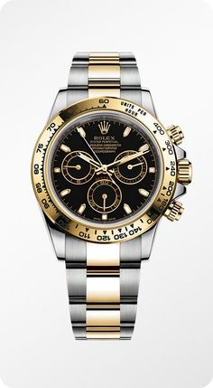 A Rolesor version of the Rolex Cosmograph Daytona, combining 904L steel with 18ct yellow gold, with a black dial and an Oyster bracelet.