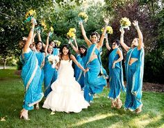 I love the bridesmaids sarees with the white/traditional wedding dress. I'd probably have my bridesmaids wear different color sarees to represent each wedding color. Bridesmaid Saree, Indian Bridesmaids, Bridesmaid Outfit, Bridesmaids And Groomsmen, Wedding Bridesmaids, Desi Wedding, Saree Wedding, Wedding Ideas, Blue Wedding