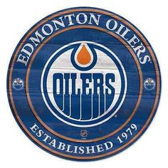 NHL Edmonton Oilers Wall Hanging - 45 in H x in L - Includes Rod and String Nhl Logos, Hockey Logos, Toronto Maple Leafs Wallpaper, Edmonton Oilers, Sports Logo, Ice Hockey, Chicago Cubs Logo, Wood Signs, Record Art