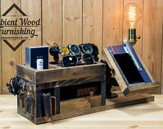 Wood Utility Storage Lamp With Pipe Stand With Electronic Docking Station And Watch Holder
