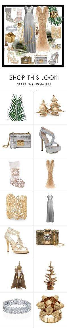 """""""Silver meets Gold"""" by bamagirl0320 ❤ liked on Polyvore featuring Nika, National Tree Company, Gucci, Marchesa, Sole Society, Galvan, Caparros, GEDEBE, Kurt Adler and K&K Interiors"""