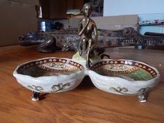 Green Porcelain and Bronze Double Bowl with Lady Accent