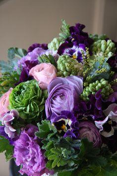 ranunculus,eustoma,hyacinth and pansy