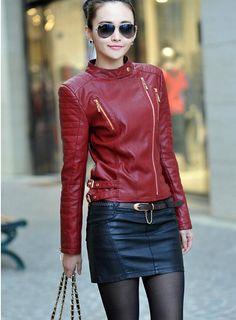 Primavera e no outono jaqueta de couro vermelho mulheres 2015 nova moda jaquetas de couro mulheres curto fino motocicleta roupas de couro mulheres em Couro e Camurça de Roupas e Acessórios Femininos no AliExpress.com   Alibaba Group