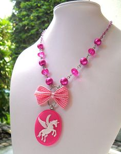 Cute Cameo Necklace - Pink Pegasus - Winged Unicorn with Pink Gingham Checkered Bow and Faux Pearls - Cute Retro Kitsch