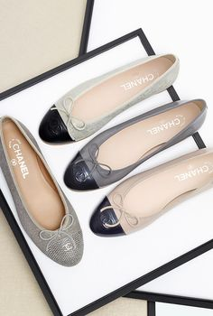 chanel two-tone kidskin suede and lambskin ballet flats