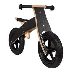Broozzer luxe houten loopfiets CARBON FIBRE BLACK / ZWART met ABEC 9 lagers en SPECIAAL gevulde rubberen luchtwielen 12 inch