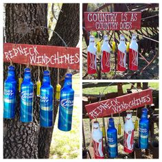 Recycled cans, shot gun shells, and pallets for the must have RedNeck wind… Redneck Gifts, Redneck Party, Redneck Christmas, Gag Gifts Christmas, Shotgun Shell Crafts, Beer Bottle Crafts, White Trash Bash, Recycle Cans, Diy Wind Chimes