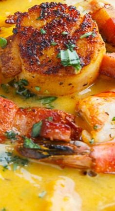 Cajun Sweet Potato Seafood Chowder Recipe : A cajun inspired sweet potato seafood chowder with blackened shrimp and scallops! Best Soup Recipes, Chowder Recipes, Fish Recipes, Seafood Recipes, Cooking Recipes, Seafood Chili Recipe, Recipies, Cajun Recipes, Chili Recipes