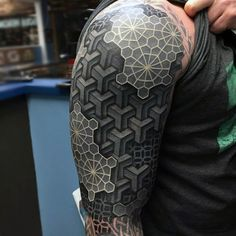 Black and white tattoos are most trendy tattoos. Here are the list of trendy and glorious black and white tattoo designs. Cool Tattoos For Guys, Trendy Tattoos, Black Tattoos, 3d Tattoos For Men, Awesome Tattoos, Geometric Sleeve Tattoo, Geometric Tattoo Design, Geometric 3d, Hexagon Tattoo