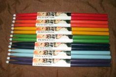 "Perfect Stocking Stuffer!!  7 PAIR Perfektion Colored Nylon Tip Drum Sticks - ""Colors of the Rainbow Pack""Red, Orange, Yellow, Green, Dark Blue, Light Blue,..."