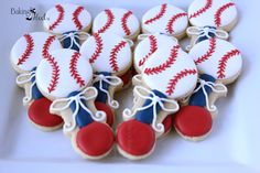 Red White and Blue Baseball Baby Rattle Decorated Sugar Cookie Favors, It's A Boy Decorated Cookies, Baby Shower Cookie Favors