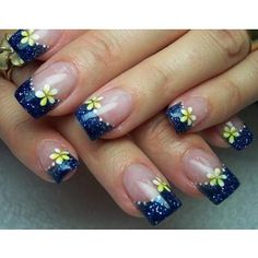 Nail art designs blue tips minus the yellow flowers and I think I have my nail design for the wedding. :)