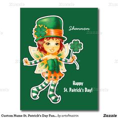 Little Sweet Girl Leprechaun Design St.Patrick's Day Fun Customizable Postcards for kids with personalized name. Matching cards, postage stamps and other products available in the Holidays / St. Patrick's Day Category of the artofmairin store at zazzle.com