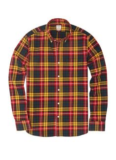 Rhodes Collar Slim Shirt - Red, Yellow & Green Tartan