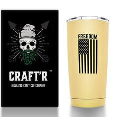 Craftr Insulated Beer Cup - FREEDOM EDITION, Stainless Steel Vacuum Insulated Tumbler - Holds Your Beer at the Perfect Tasting Temperature (Matte Sandstone). For product & price info go to:  https://all4hiking.com/products/craftr-insulated-beer-cup-freedom-edition-stainless-steel-vacuum-insulated-tumbler-holds-your-beer-at-the-perfect-tasting-temperature-matte-sandstone/