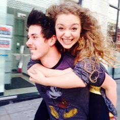 Carrie Hope Fletcher and Pete Bucknall-- I wasn't gonna pin this but it made me smile so much! Charlie The Unicorn, Carrie Hope Fletcher, Jim Chapman, Good Mythical Morning, Tanya Burr, Marcus Butler, Dodie Clark, Joe Sugg, Christina Ricci