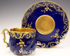 RARE Limoges Huge Hand Painted Raised Gold Flower on Cobalt Blue Cup Saucer