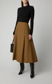 Partow Everly A-Line Crepe Midi Skirt midi Nellie Partow A Line Skirt Outfits, Midi Skirt Outfit, A Line Skirts, Long Skirts, Look Fashion, Trendy Fashion, Fashion Models, Autumn Fashion, Fashion Teenage School