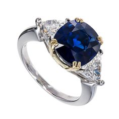Royal Blue Cushion Sapphire Diamond Gold Platinum Engagement Ring | From a unique collection of vintage engagement rings at https://www.1stdibs.com/jewelry/rings/engagement-rings/