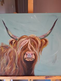 Highland cow in acrylics Highland Cow Painting, Highland Cow Art, Highland Cattle, Painting Inspiration, Art Inspo, Painted Window Art, Cow Craft, Cow Pictures, Watercolor Animals
