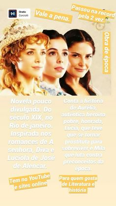 #EssasMulheres #Novela Obra de época. (2005) Cinema, Tv, Movies, Movie Posters, 19th Century, Women, Novels, Vintage, Films