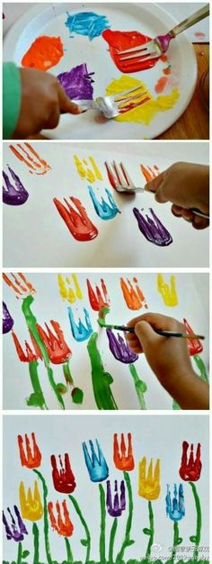 Ideas For Flowers Crafts Preschool Art Projects Kids Crafts, Toddler Crafts, Easter Crafts, Projects For Kids, Diy For Kids, Art Projects, Arts And Crafts, Spring Art, Spring Crafts