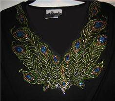 Neckline Rhinestone PEACOCK FEATHER Top, Sparkle Bling Shirt   eBay