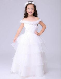 fb182549ed8 New Style Ball Gown Off-the-shoulder Layered Skirt Organza First Communion  Dresses  Beautiful White Flower Girl Dresses with Flower