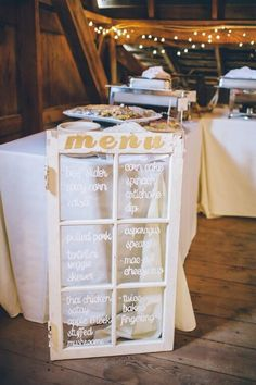 Skip the paper dinner menus - write it on a vintage window frame instead for wedding guests to see! {@studio127}
