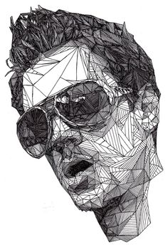 Pen drawing created by Josh Bryan using abstract triangular forms to create portraits beautifully complex.