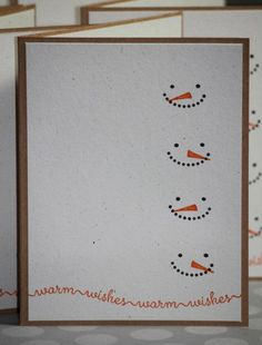 Set of Eight Handmade Christmas Cards Holiday by strandedpaper. Could use snowman faces as scrapbook page border. Homemade Christmas Cards, Homemade Cards, Handmade Christmas, Christmas Diy, Diy Holiday Cards, Christmas Cards By Kids, Xmas Cards Handmade, Christmas Island, Christmas Movies