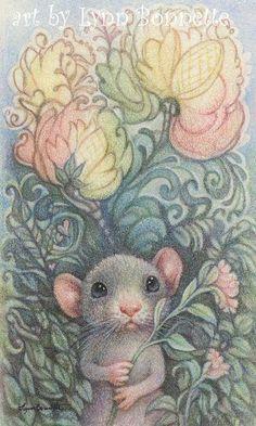 Mouse Picking the Rose by Lynn Bonnette
